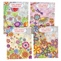 Coloring Book Adult Floral 4 Assorted In Pdq