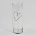 Vase 9.5in Cylinder Gold Heart Glass Clear #895/u177d