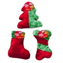 Dog Toy Christmas Chenille With Squeaker 3 Shapes Red/green In Pdq -hang Tag