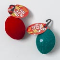 Dog Toy Christmas Mini Football Flocked W/squeaker 2asst In Pdq Flocking Material
