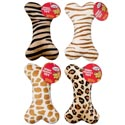 Dog Toy Plush 8 Inch Bone With Squeaker Animal Prints In Pdq