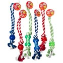 Dog Toy Rope/rubber Tug Chews 3 Styles 3 Colors In Pdq #14072 Asst #4