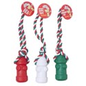 Dog Toy Christmas Vinyl Fire Hydrant/rope 3 Colors In Pdq #14078
