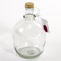 Growler Glass 2 Liter Moonshine W/gold Metal Cap Clear
