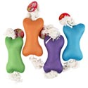 Dog Toy Plush Bone W/rope And Squeaker 14in 4 Colors In Pdq #p30938