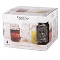 Drinkware 4 Pc Set Mason Jars 17.5 Oz Rooster Clear *9.99* Litho Boxed