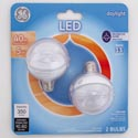Light Bulbs 2pk Led 5w = 40w Ge G16 Globe Candle Base Clear Finish Carded