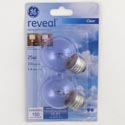 Light Bulbs 2pk G16.5 25w Clear Ge Reveal Med Base Carded *4.40*