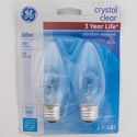 Light Bulbs 2pk 60w Blunt Tip Ge Deco B13 Med Base Crystal Clear Carded