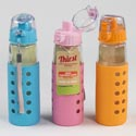 Glass Bottle 15oz W/silicone Sleeve 3 Asst Colors (7.00) Pink, Blue, Orange