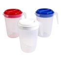 Pitcher 8.5in 2 Qt 3 Color Lids W/frosted Bottom #bw001