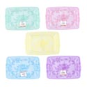 Serving Tray W/embossed Rose & Leaves 5 Pastel Colors In Pdq 12.75l X 8.5w X 1.5h #193