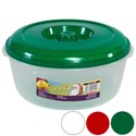 Food Storage Container Round 3 Qt 3 Color Lids - Clear Bottom Red, White, Green #omega Bowl 5