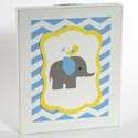 Wall Sign 9x11 Wooden Elephant Blue/white (10.95)