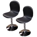Rta Swivel Chairs Set Of 2 Black/metal Shell Faux Leather (90.00)