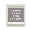 Magnet W/metallic Accents Mdf Love Beer/sports Paper Wrp*5.00* 2-3/4x3-1/4x3/8 # Cmag-13809