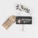 Gift Tag 3x5 Wood W/beaded Emb Birthday Girl Hanger Charm*7.00* # Gat-14965