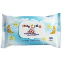 Baby Wipes 80ct Blue Plastic Lid Closure Babyish With Vitamin A & Aloe Vera