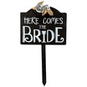 Sign Stake 15.5x26 Mdf Here Comes The Bride (17.50)