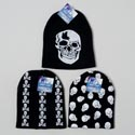 Hat Black Knit Cap 3asst Skull Print Designs Hangtag W/j-hook