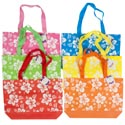 Beach Tote Hibiscus Print 6color Coated Nonwoven 14.75x10.5x3 In Summer Hangtag