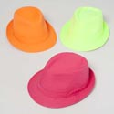 Hat Fedora Disco Neons 3asst Pink/org/grn Party Ht/jhook