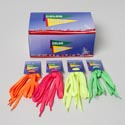 Shoelaces 4ast Bright Neon Color Pink/grn/org/yellow In 24pc Pdq 43in L Pair/tie On Card