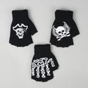 Gloves Fingerless 3ast W/bone/ Skull/pirate Decal Knit/acrylic Winter Hangtag/jhook