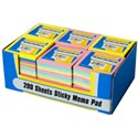 Sticky Memo Pads 3x3 200ct Regular Or Neon In 24pc Pdq 4colors Per Pack/stat Pdq/label