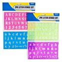 Letter Stencil 2pk/2ast W/ruler Capital/lowercase W/numbers Pink-blue/green-purple 2ast