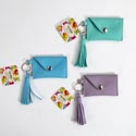Coin Holder Keychain 3asst W/tassel 3.875x2.375 36pc Pdq Purple/mint Green/mint Blue'