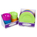 Dinnerware Melamine Plate/bowl 24pc Pdq's/solid Colors W/embssd Rim 11in Plate/5.93in Bowl