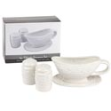 Gravy Boat W/saucer & S/p Shaker Set White Embossed Dolomite Color Box