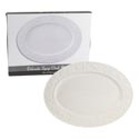 Serving Platter Oval Embossed White Dolomite Color Boxed 18.25 X 13.75 X 1.5h