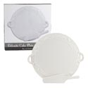 Cake Plate W/server Embossed White Dolomite Color Boxed 14.75 X 13 X 1 Plate/9.75in Svr