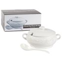 Soup Tureen 2 Liter W/ladle Embossed White Dolomite Colorbox