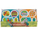 Dinnerware Kids 4section Tray 4asst Jungle Themes/48pc Pdq Elephant/leopard/zebra/parrot
