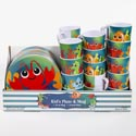Dinnerware Kids Sea Life Plate/mug 4 Asst In 48pc Pdq Lobster/starfish/fish/seahorse