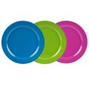 Dinnerware Melmn Plate 11in 3ast Solid Colors Summer Label 135g Green/hot Pink/turq Blue