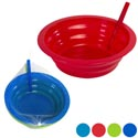 Bowl 2pk W/built In Straw 21oz Plastic 2ast Clr Combo Netbag/ht Red/turq-blue/grn 6.5dia X 2in