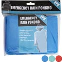 Rain Poncho Emergency 2pk 3ast Colors 50x40in 12pc Mdsg Strip Pbh