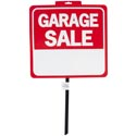 Sign Garage Sale 14x15in 26in W/pole Weatherproof Plastic Perforated Header Label