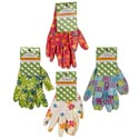 Gloves Garden Ladies Printed Nitrile Coated 4ast Prints Garden Tie-on Card