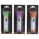 Flashlight Led 4.5in W/wrist- Strap Silver W/3asst Color Heads Halloween Blister Card