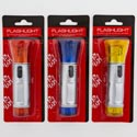 Flashlight Led 4.5in W/wrist- Strap Silver W/3ast Color Head &end/hardware Blister Card