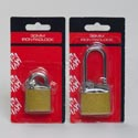 Lock Iron Padlock Brass 2asst 38mm Long/30mm Short Shackle W/ 2 Keys On Hardware Blister Card