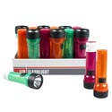 Flashlight 7in Led Pp Plastic 3ast Color/24pc Pdq Shrink