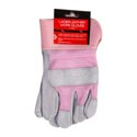 Gloves Ladies Work Leather Delux 9in/23cm W/pink Mesh & Cuff Header Card