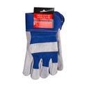 Gloves Mens Work Leather Deluxe 10.5in/27cm W/blue Mesh & Cuff Header Card