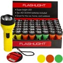 Flashlight Led 4in L 3asst Colors In 48pc Pdq 3xag13 Batteries Included